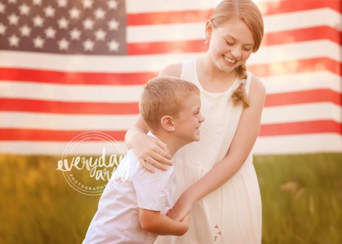 child flag photo session